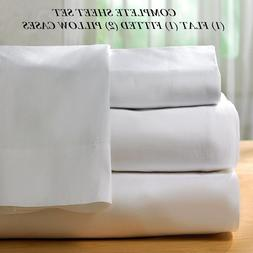 1 new white cotton queen size sheet set percale 300t series