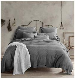 New!100-Percent Natural Washed Cotton Duvet Cover Set, King