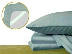 100% Cotton Bed Sheets with Corner Straps, Elastic Bands. Si