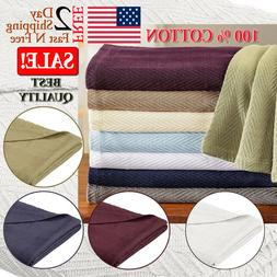 100% Cotton Thermal Blanket Queen King Full Size Weave Patte