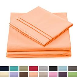 Cosy House Collection Twin Size Bed Sheets - Pastel Orange B