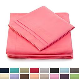 King Size Bed Sheets - Brink Pink Luxury Sheet Set - Deep Po