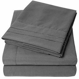 1500 Supreme Collection Extra Soft Twin Sheets Set, Gray - L