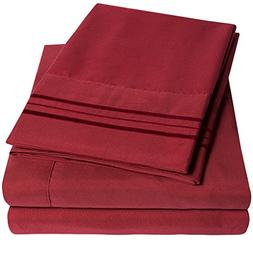 1500 Supreme Collection Extra Soft King Sheets Set, Burgundy