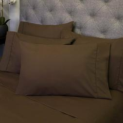 Queen Sheets Brown - 6 Piece 1500 Thread Count Fine Brushed