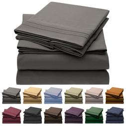 Mellanni 4-Piece Bed Sheet Set, Deep Pocket, Wrinkle, Stain