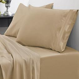 1800 Thread Count Egyptian Quality 4 Piece Deep Pocket Bed S