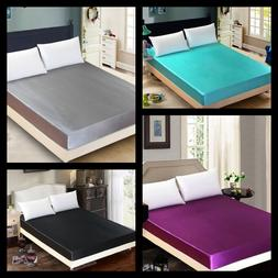 1PC ELEGANT SATIN SILKY SOLID SOFT BED DRESSING COVER FITTED