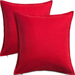 2 Pack Solid Red Decorative Throw Cushion Pillow Cover Cushi