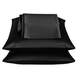 2 Pieces of 350TC Solid Black Soft Silky Satin Pillow Cases