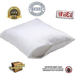 4 new white bed bug zippered pillow protectors pillow covers