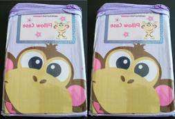 2 American Kids Pillow Case Superstar Monkey Front & Solid P
