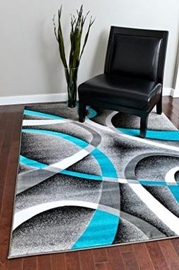 2305 Turquoise White Swirls 2'0 x 3'4 Modern Abstract Area R