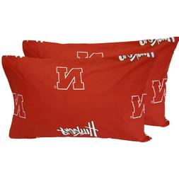 2pc NCAA NEBRASKA HUSKERS PILLOWCASES - Cotton Pillow Cover