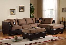 3-Piece Modern Reversible Microfiber / Faux Leather Sectiona