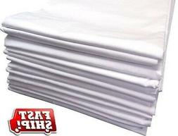 3 new white t180 twin bed flat sheet 66x104 hotel motel reso