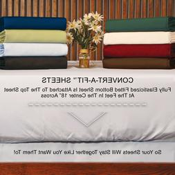 300 TC - Attached At The Center - Percale Sheets - Fits Up T
