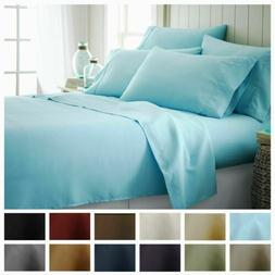 4 6 Piece Bedroom Bed Sheet Set 1800 Thread Count Luxury Com