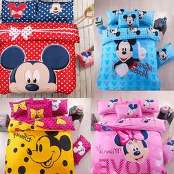 4 Pcs Mickey Mouse Bedding Set cartoon kids bedclothes cover