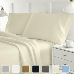 4-Piece Hotel Luxury Bed Sheets Wrinkle Free Solid Microfibe