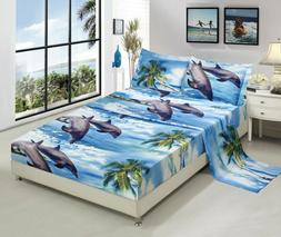 HIG 4 piece 3D Bed Sheet Set Wild Life Animals,Flowers and S