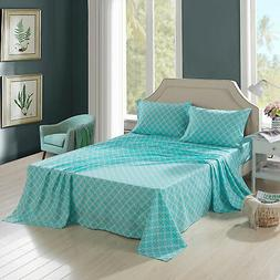 4 Piece Quatrefoil Printed Soft Bed Sheet Set Twin Full Quee