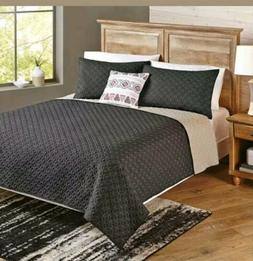 Better Homes and Gardens 4-Piece Solid Chevron Reversible Qu