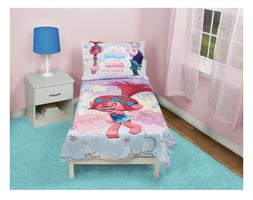 4-Piece Toddler Bed Set; Quilt, Pillowcase, Flat & Fitted Sh