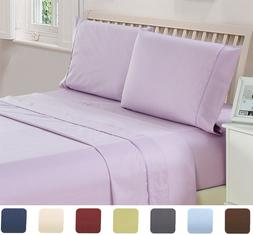 4 Piece Bed Sheet Set Checkered Collection Egyptian Deep Poc
