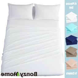 4 Pieces Twin Bed Sheets Set Microfiber Wrinkle Fade Resista