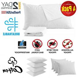 4 Pillow Protector Cover Case Waterproof 20x30 Zippered Terr