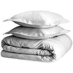 Pizuna 400 Thread Count Cotton Duvet Cover Set Queen White,
