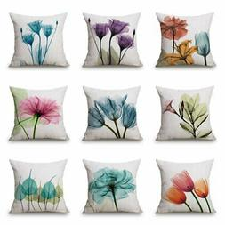 45x45 Flower Cotton Linen Pillowcase Flower Cushion Cover Th