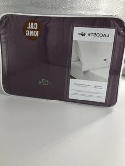 Lacoste 4PC Bed Sheets Cal King - Plum - 100% Cotton Percale