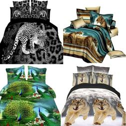 4PC Set 3D Docile Animal Print Duvet Cover Luxury Pillow Cas