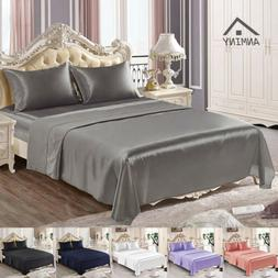 ANMINY 4Pcs Satin Silk Fitted Flat Sheet Pillowcases Twin Qu