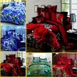 4x Print 3D Duvet Cover Bedding Set Queen Size Quilt Cover B