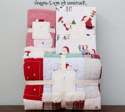 Pottery Barn Kids 5p JOLLY SANTA Twin Quilt + Sham + Flannel