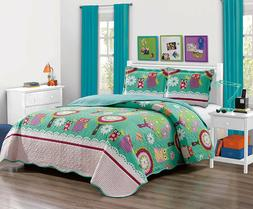 Fancy Linen 5pc Twin Size Bedspread Set With Sheets Owl Teal