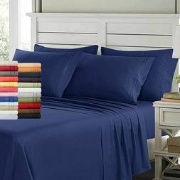 Egyptian Comfort 6 Piece Bed Sheets Deep Pocket Brushed Luxu