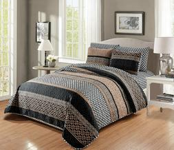 6 Piece Quilt Bedspread Set with Fitted Sheet Elegant Design