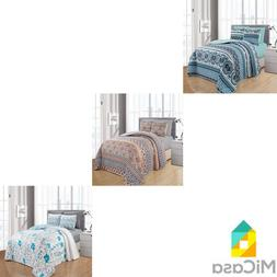 6 Piece Quilt Bedspread Set with Fitted Sheet Modern Design