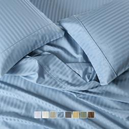 "650 Thread Count Striped Bed Sheets Set Cotton Blend 15"" Dee"