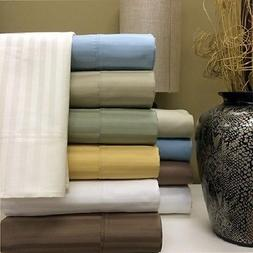 """650 Thread Count Striped Bed Sheets Set Cotton Blend 15"""" Dee"""