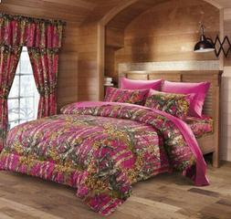7 PC KING WOODS NATURAL CAMO COMFORTER AND PINK SHEET SET CA