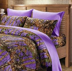 7 PC Purple Camo Queen size Comforter sheets and pillowcase