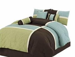 Chezmoi Collection 7-Piece Quilted Patchwork Comforter Set (