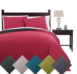 7PC Reversible Modern Stylish Project Runway Quilt Set & Whi