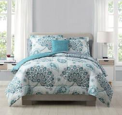 8 Piece Westerly Teal/White Comforter Set with Sheets