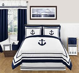 Anchors Away Nautical Navy and White Boys 3 Piece Full / Que